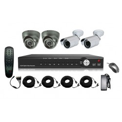 4-Kanaals DVR Systeem (SD, H.264) Complete Kit Met Kabels En 4x Sony CCD Camera