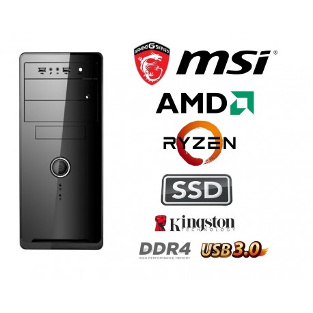 AMD Ryzen 6 1600X Hecta Core 4.0 Ghz Multimedia Systeem: Kingston 120 GB SSD / 4 GB Geheugen / USB 3.0