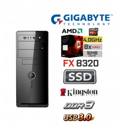 AMD FX-8320 Vishera EIGHT Core 4.0 Ghz Multimedia Systeem: Kingston 120 GB SSD / 4 GB Geheugen / USB 3.0